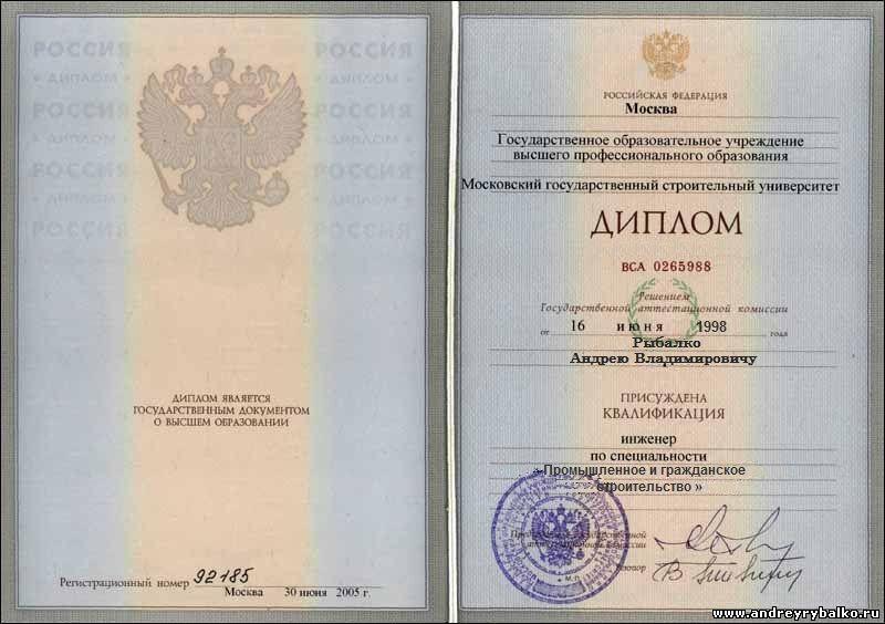 АНДРЕЙ РЫБАЛКО Образование Диплом Приложение